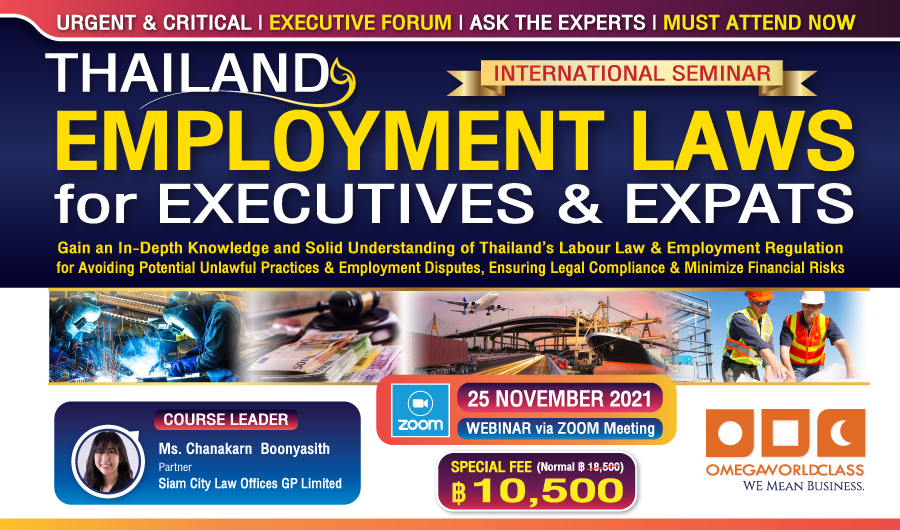 THAILAND EMPLOYMENT LAWS for EXECUTIVES & EXPATS | 25 November 2021
